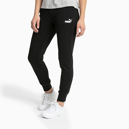 Essential Knitted Women's Sweatpants, Cotton Black, small