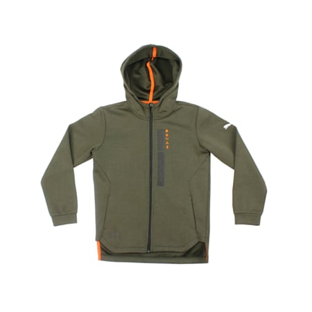 Energy Full Zip Boys' Running Hoodie, Forest Night, small-IND