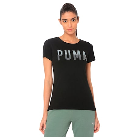 Athletic Women's Tee, Cotton Black-1, small-IND