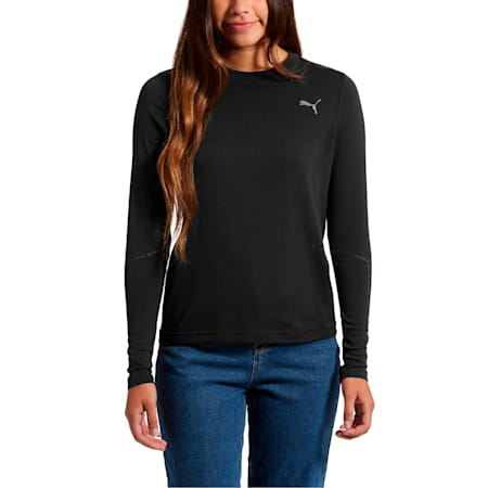 evoKNIT Seamless Long Sleeve Top, Puma Black, small