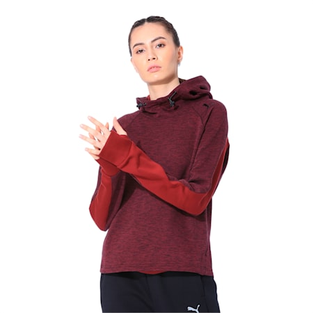 Active Women's Evostripe Hoodie, Pomegranate-heather, small-IND