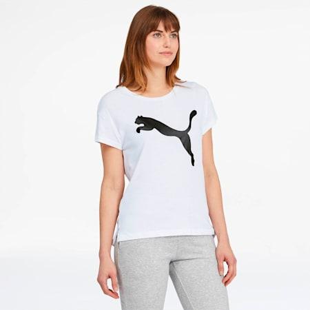 Active Women's Logo Tee, Puma White-Cotton Black, small