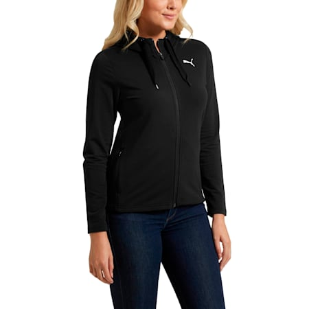 Modern Sport Women's Full Zip Hoodie, Cotton Black, small
