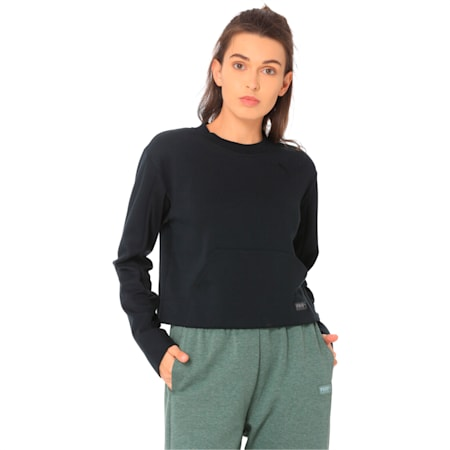Fusion Women's Cropped Crew Sweater, Cotton Black, small-IND