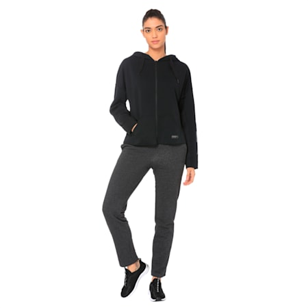 Fusion Women's Full Zip Hoodie, Cotton Black, small-IND