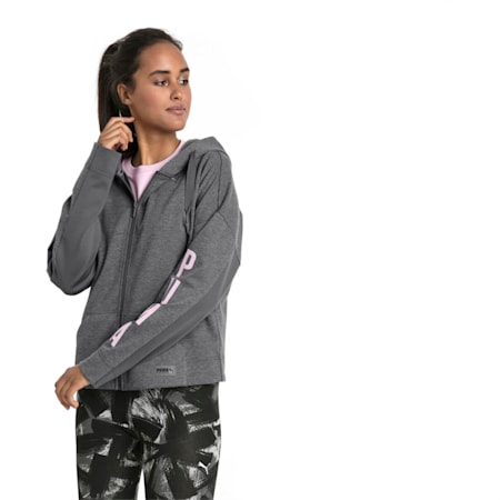 Fusion Women's Full Zip Hoodie, Iron Gate Heather, small-IND