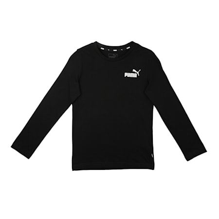 Essentials Long Sleeve Boys' Tee, Cotton Black, small-IND