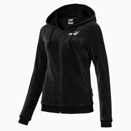 Essentials Velour Hooded Women's Jacket, Cotton Black, small-IND