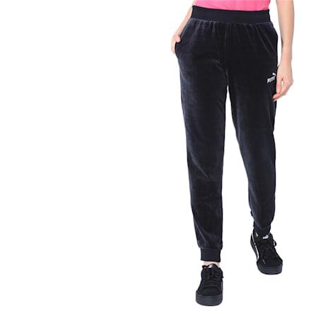 Essentials Velour Women's Sweatpants, Cotton Black, small-IND