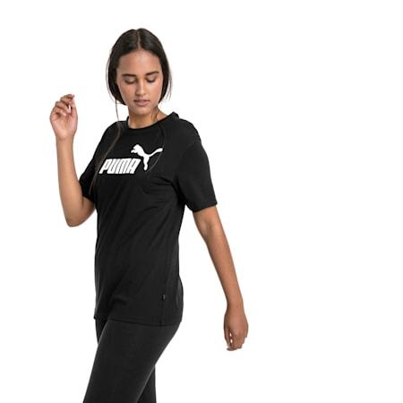 Boyfriend Logo-T-shirt til kvinder, Cotton Black, small