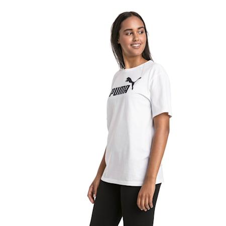 Boyfriend Logo-T-shirt til kvinder, Puma White, small