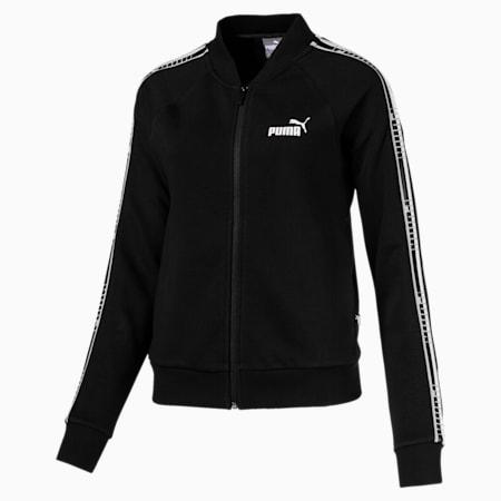 Tape Full Zip Women's Track Jacket, Cotton Black, small