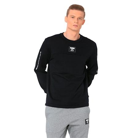 Men's Rebel Block Fleece Sweater, Cotton Black, small-IND