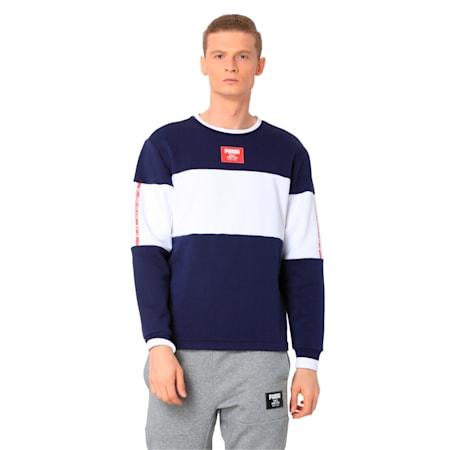 Men's Rebel Block Fleece Sweater, Peacoat, small-IND