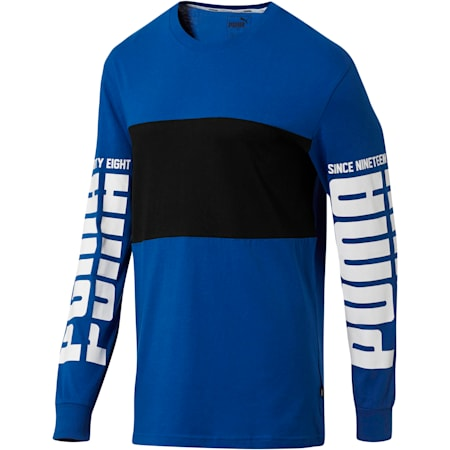 Rebel Up Raglan Long Sleeve Men's Tee, Sodalite Blue, small
