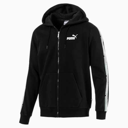 Men's Tape Full Zip Fleece Hoodie, Cotton Black, small