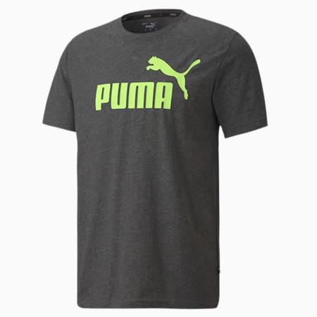 Essentials+ Men's Heathered Tee, Puma Black Heather-S_Green, small