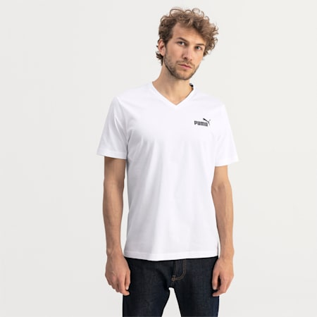 Essentials V-Neck Men's Tee, Puma White, small