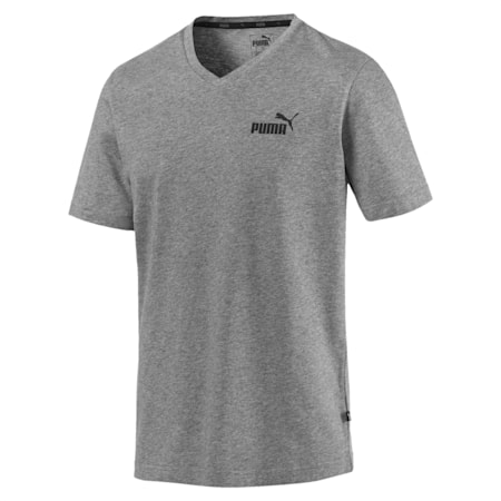 Essentials V-Neck Men's Cotton T-Shirt, Medium Gray Heather, small-IND