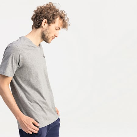 Koszulka meska Essentials z dekoltem w szpic, Medium Gray Heather, small