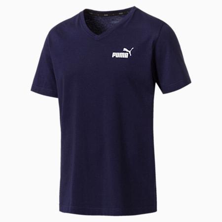 Essentials V-Neck Men's Cotton T-Shirt, Peacoat, small-IND