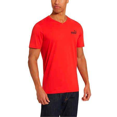 Essentials+ Men's V Neck Tee, High Risk Red, small