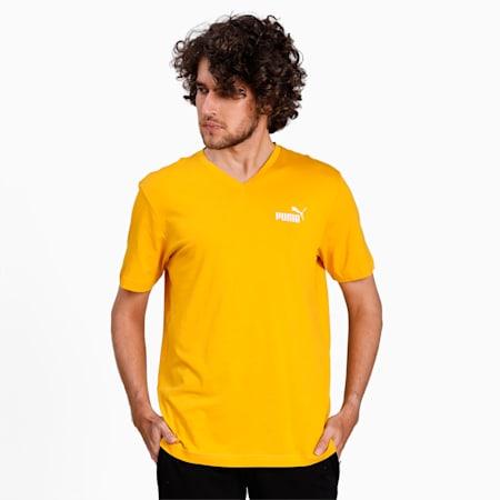 Essentials V-Neck Men's Cotton T-Shirt, Golden Rod, small-IND