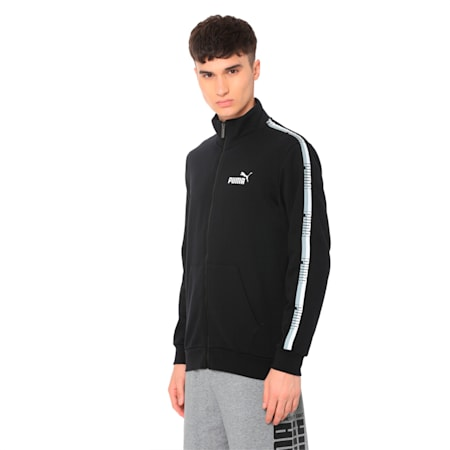 Tape Men's Track Jacket, Cotton Black, small-IND