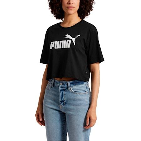 Women's Cropped Logo T-Shirt, Cotton Black, small