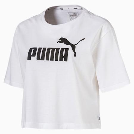 Women's Cropped Logo T-Shirt, Puma White, small-GBR