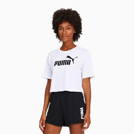 Women's Cropped Logo T-Shirt, Puma White, small