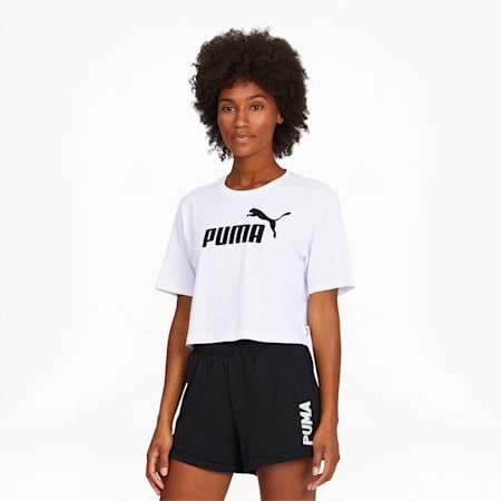 Women's Cropped Logo Tee, Puma White, small