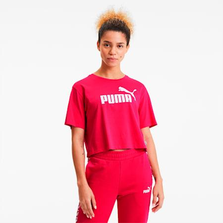 Damen Cropped Logo T-Shirt, BRIGHT ROSE, small