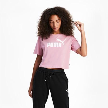 Damen Cropped Logo T-Shirt, Foxglove, small