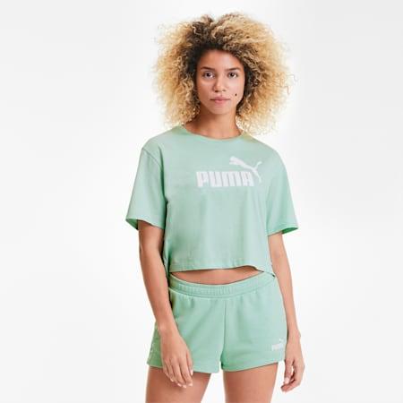 Damen Cropped Logo T-Shirt, Mist Green, small