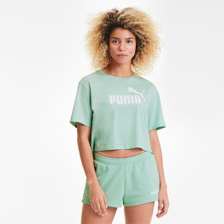 Women's Cropped Logo T-Shirt, Mist Green, small