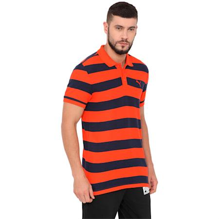 ESS Striped Pique Polo cotton black-medi, cherry tomato-peacoat, small-IND