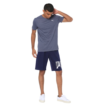 ESS V-Neck Tee, Peacoat Heather, small-IND