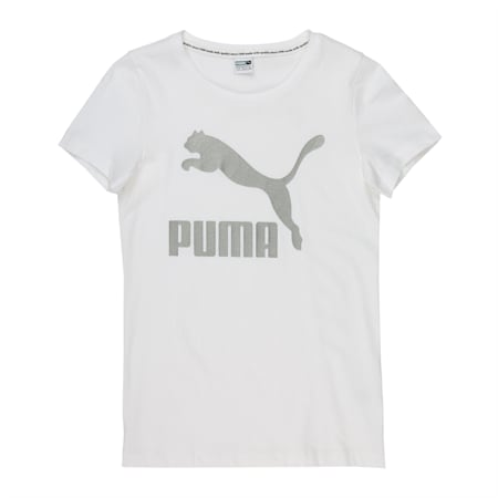 Classics Short Sleeve Girls' Logo Tee, Puma White-Silver Metallic, small-IND