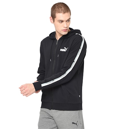 Tape Hooded Jacket, Cotton Black, small-IND