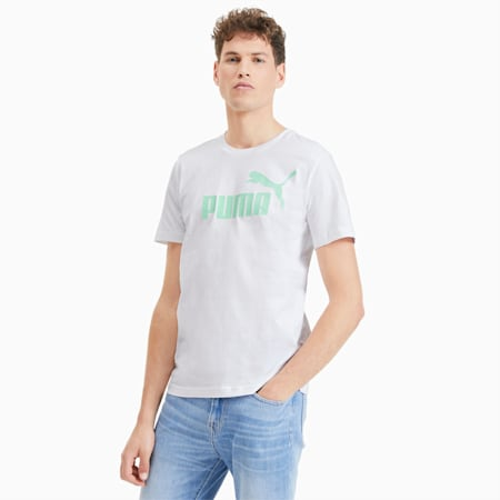 Essentials T-shirt voor heren, Puma White-Mist Green, small