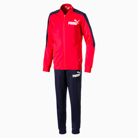 Baseball Collar Boys' Track Suit, High Risk Red, small