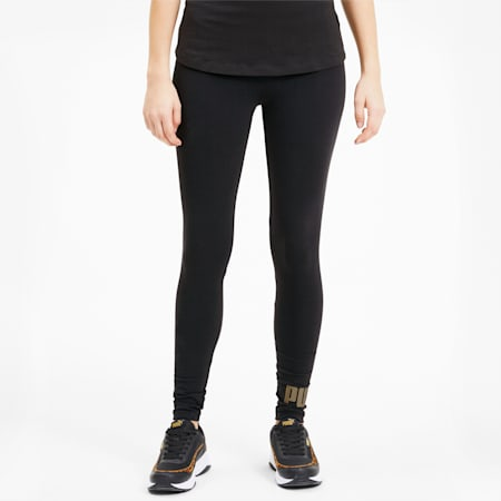 Essentials Women's Leggings, Cotton Black-Gold, small-SEA