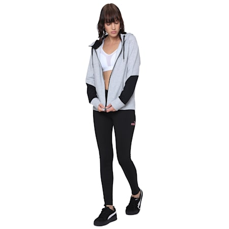 Womens Hooded Sweat Jacket, Light Gray Heather, small-IND