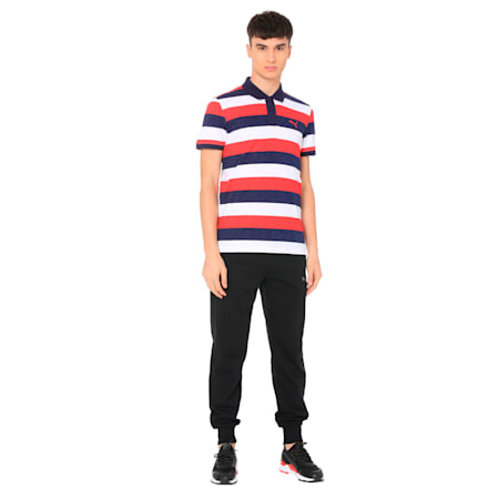 India Colorblock Stripe Polo, Ribbon Red Heather, small-IND