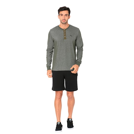 Henley L/S Polo, Forest Night, small-IND