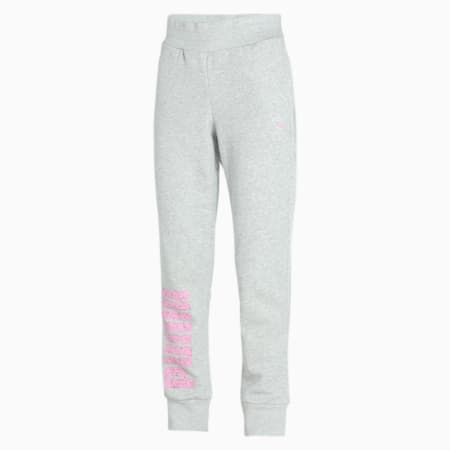 Womens Graphic Sweat Pants, Light Gray Heather, small-IND