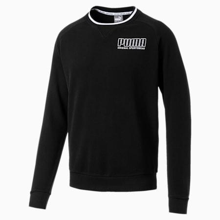 Athletics Crew Neck Men's Sweater, Cotton Black, small-SEA