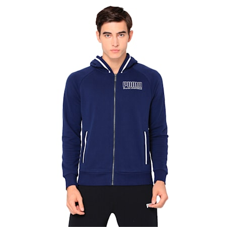 Athletics Men's Hooded Jacket, Peacoat, small-IND