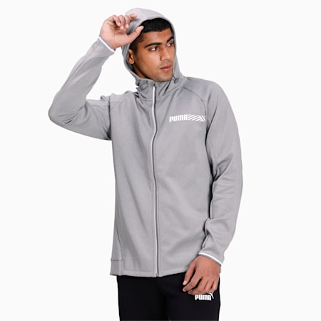 Active Reflective Tec Sports Hooded Men's Jacket, Medium Gray Heather, small-IND